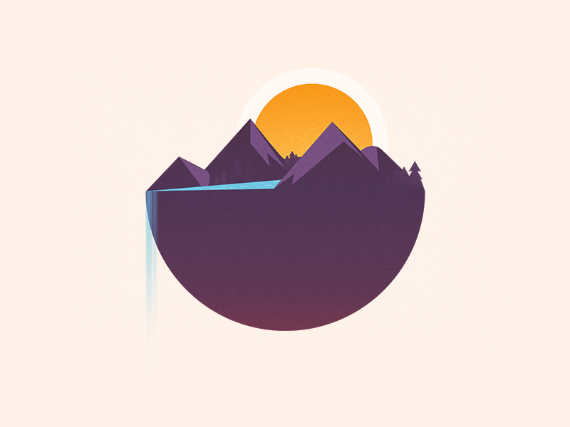 Mountains And Waterfall Graphic Design Posters Illustration Design Graphic Design Logo