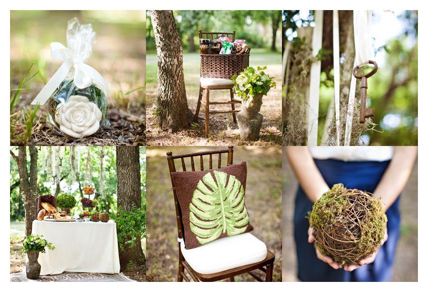 vintage garden themed brown and green bridal shower event design