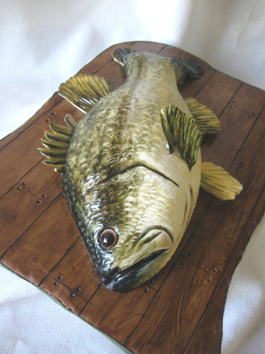 """Large Mouth Bass For my husband for Father's Day! Fish is carved cake covered in handpainted fondant; fins are gumpaste, and the """"..."""