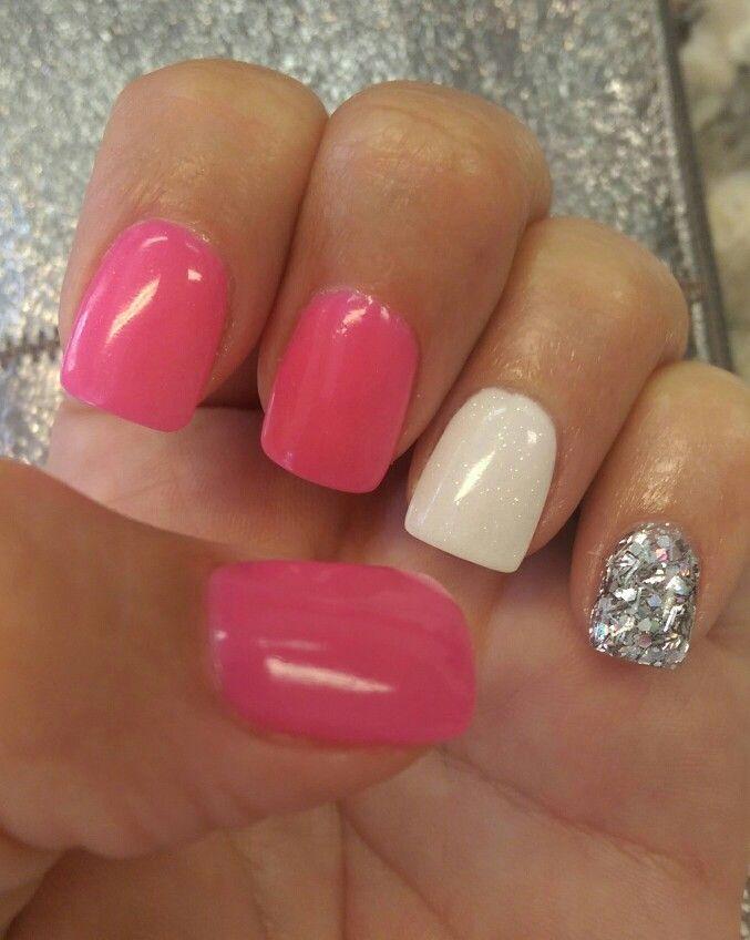 NexGen Pink, White & silver Glitter Coffin Nails | Nexgen