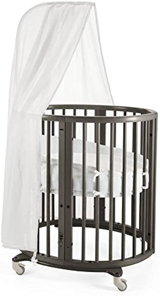Stokke Sleepi Hazy Grey Adjustable Oval Mini Baby Crib Bundle With