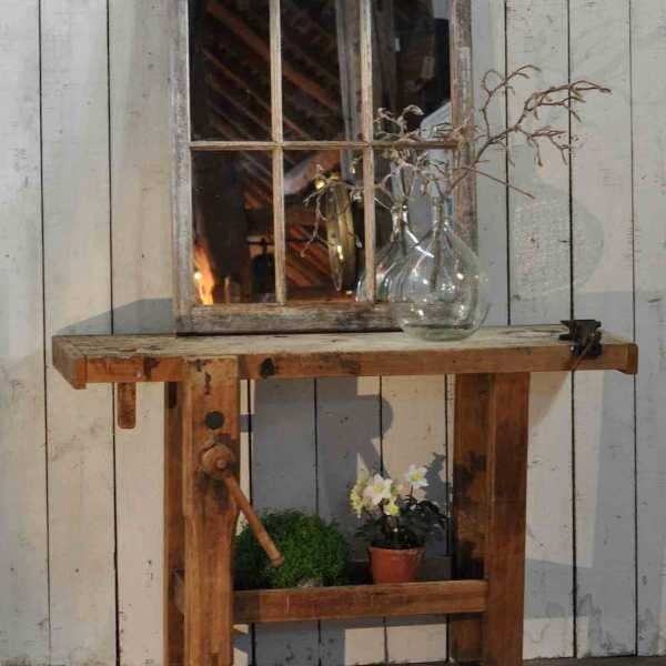 VinVintage Solid Timber Console Table Work Bench With Vice. This ...
