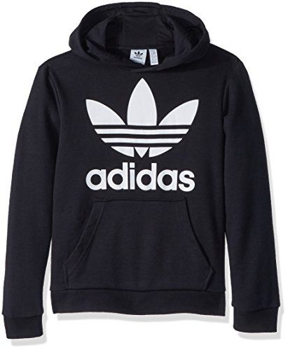adidas Big Kids Originals Trefoil Hoodie, Black/White, M