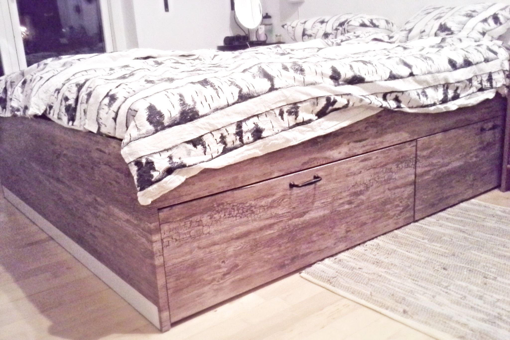 My new hacked Ikea bed Ikea Brimnes with wood adhesive and
