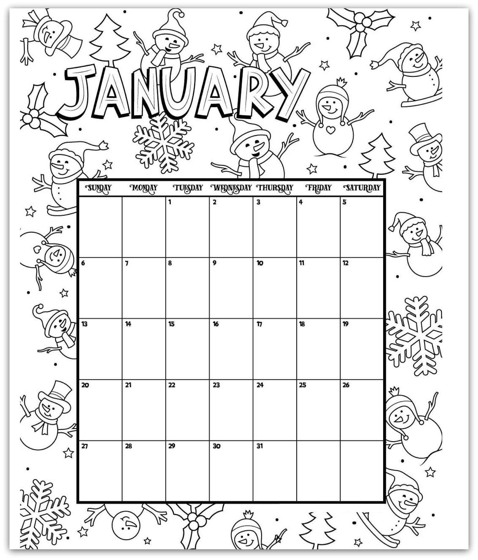 Free Printable January 2019 Calendar With Behavior Color For Kindergarten january 2019 coloring page printable calendar | Creative | Kids
