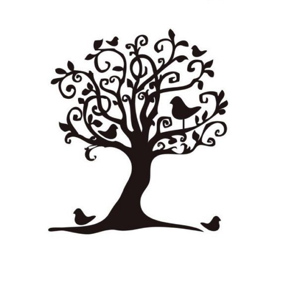 árbol Blanco Y Negro Transfer Stamp Whimsical Y Birds