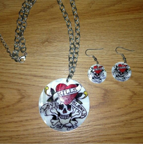 Ed hardy necklace and earring set Never worn but letters faded a bit over time Ed Hardy Jewelry