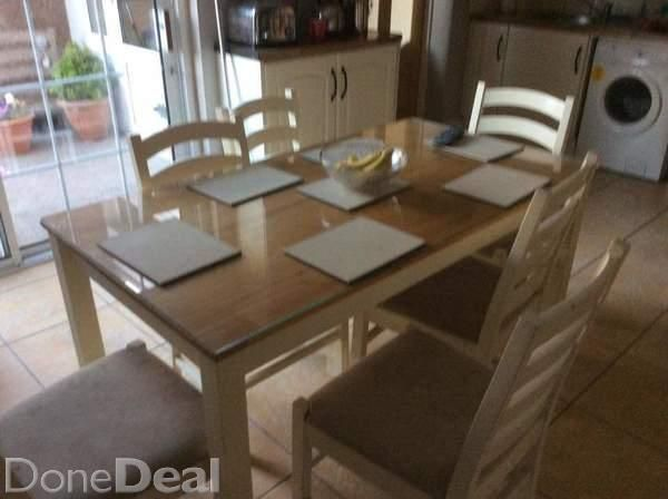 Table And Six Chairs With Glass Procter Size 800x1500cloths Seat