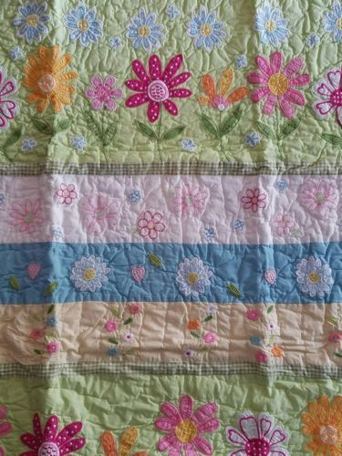 Pillowcases and Shams 124327: New Pottery Barn Daisy Garden Yellow Green Nursery Crib Quilt -> BUY IT NOW ONLY: $109.95 on eBay!
