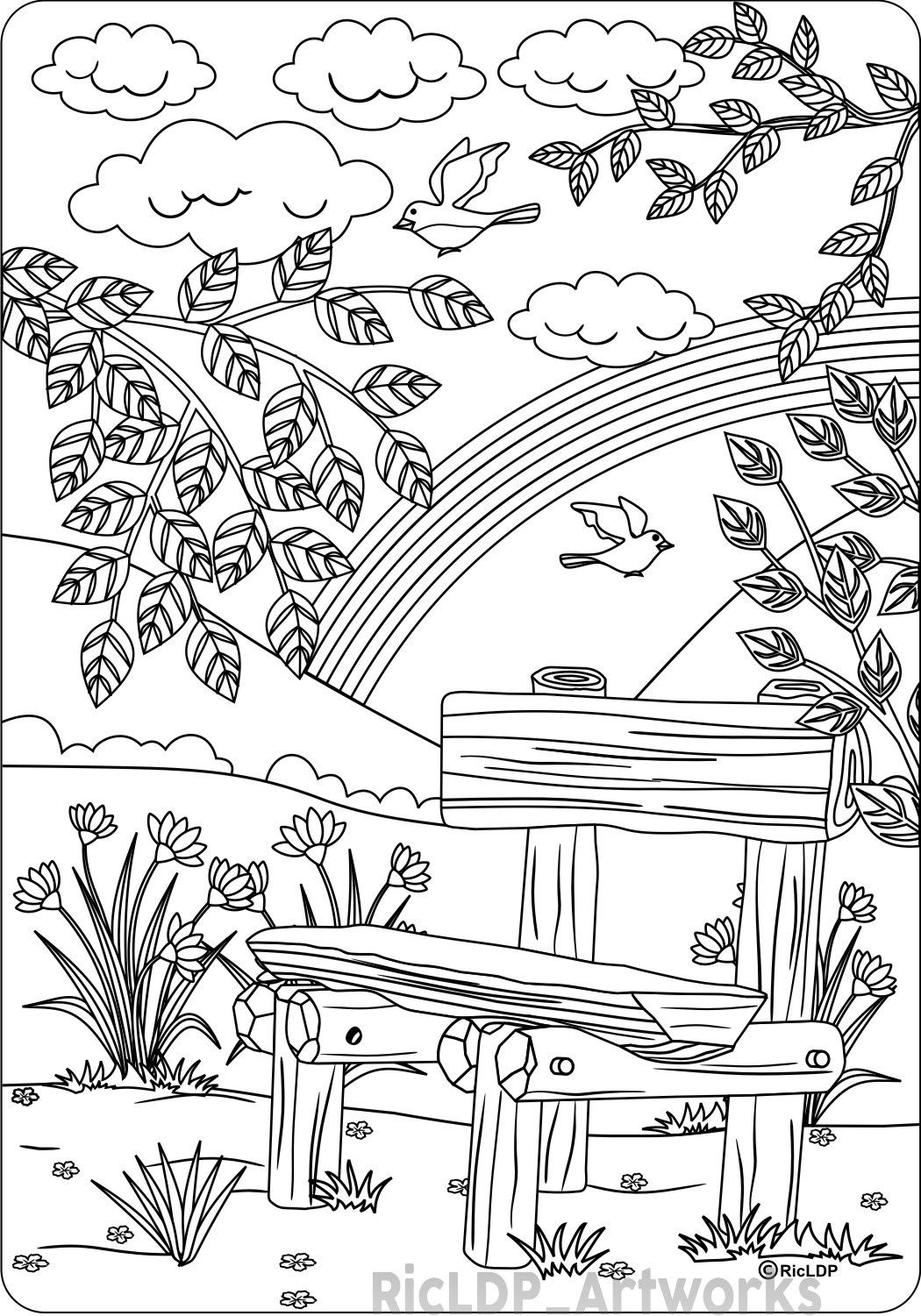 the park bench coloring page for adults