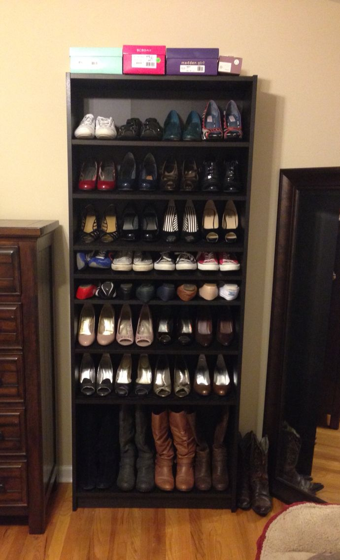 ikea billy bookshelf turned into a shoe rack works beautifully