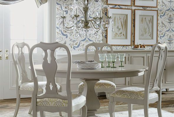 The Cameron Round Dining Table from Ethan Allen is the perfect
