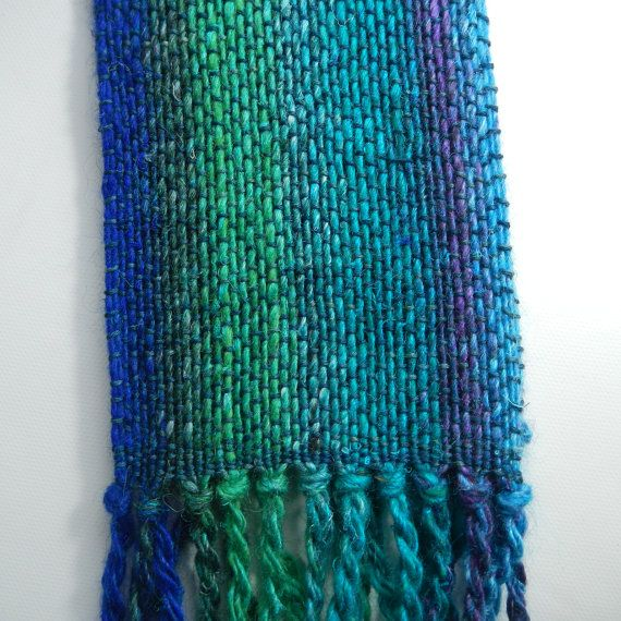 Handwoven scarf Noro silk mohair Tencel blue by MaplewoodFiberarts