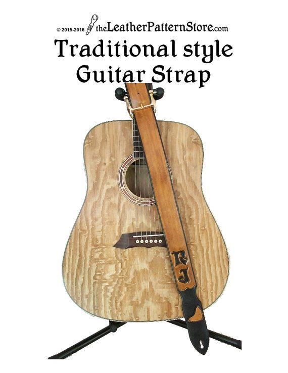 Tradtional style Guitar Strap leather by leatherpatternstore