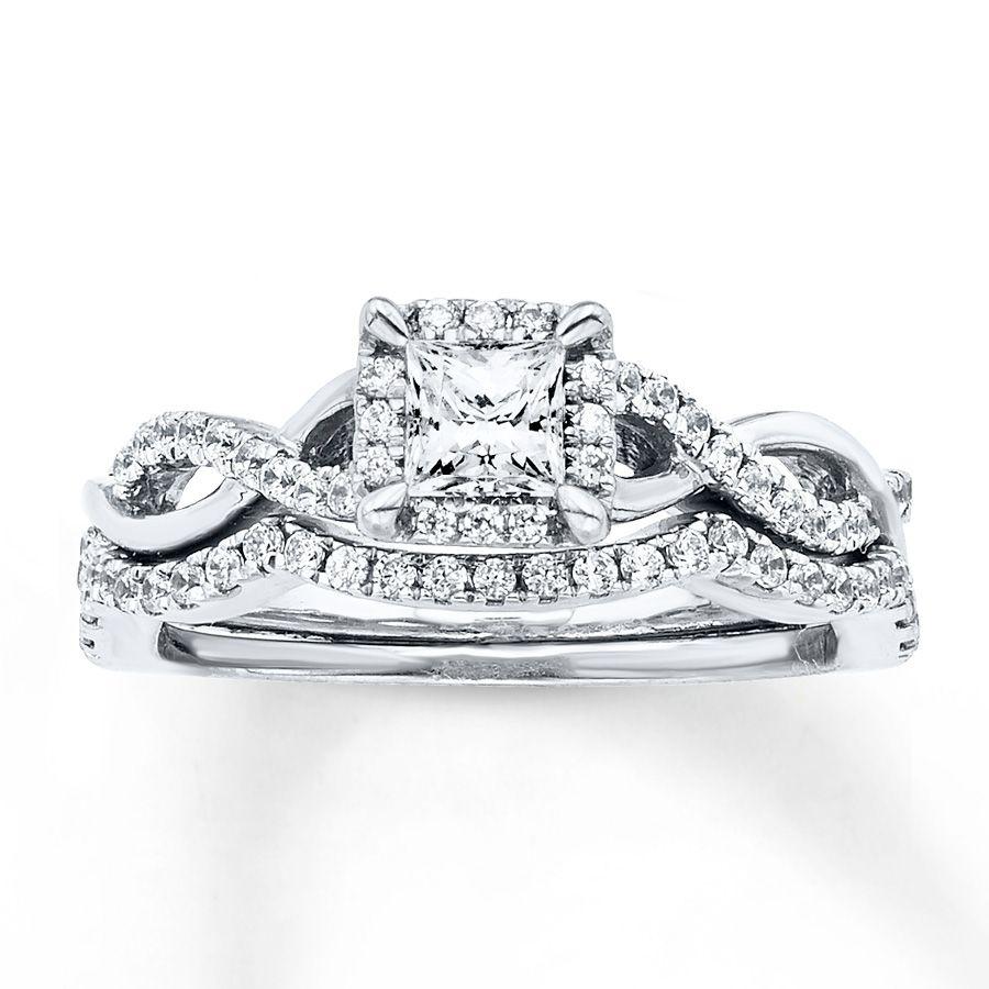 diamond bridal set 3/4 carat tw 14k white gold | { one day