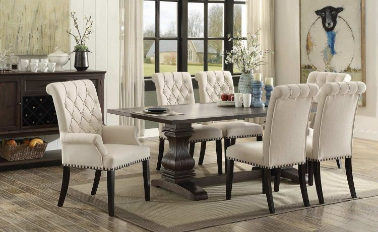 Contemporary Parkins Rectangular Dining Set Rustic Espresso Wood Finish Model - Simple dining room table and chair sets New