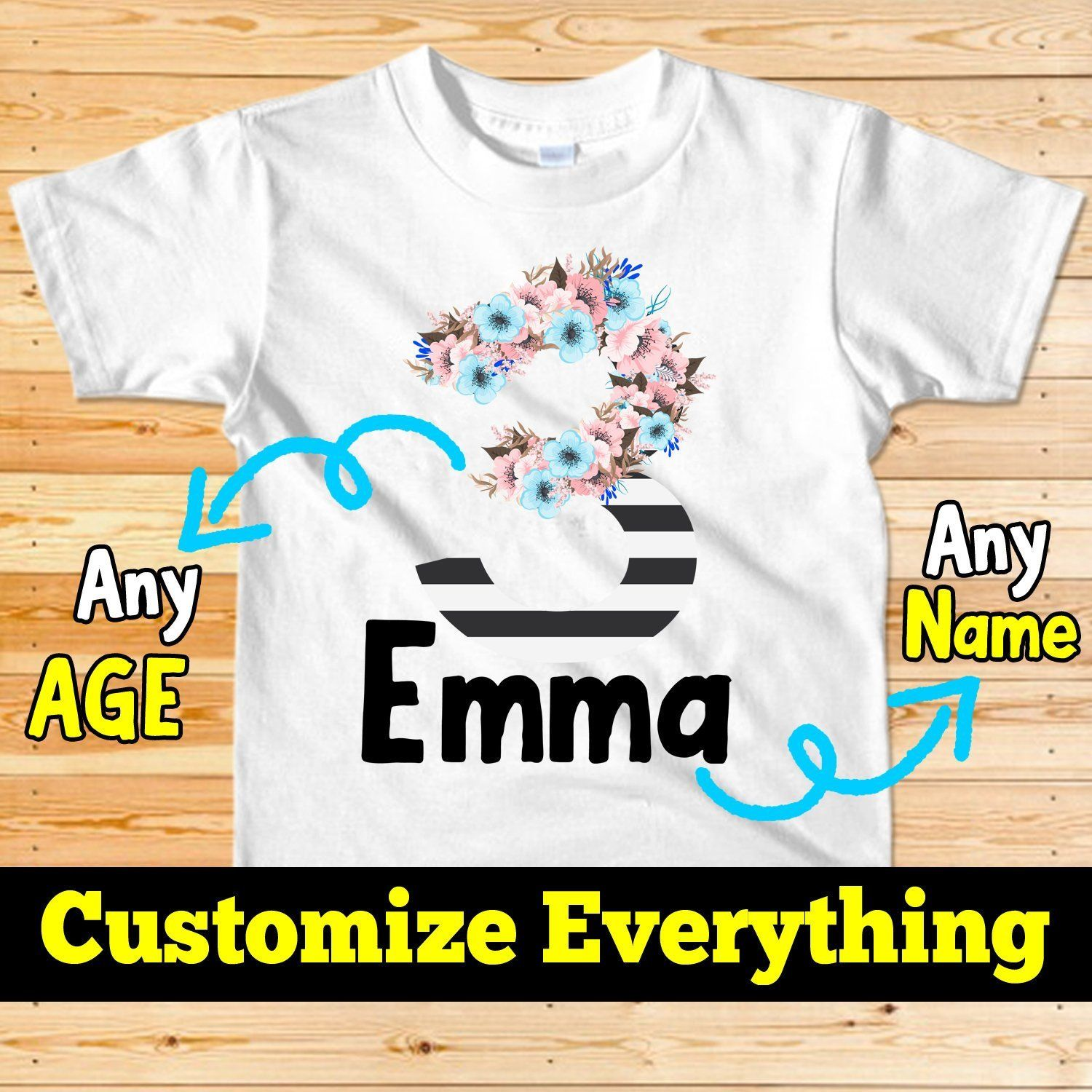 Number Bodysuit ShirtFloralPersonalized Birthday Shirt This Product Is Custom And Not Created Until The Order Processed Mockup Of 3 Year Old