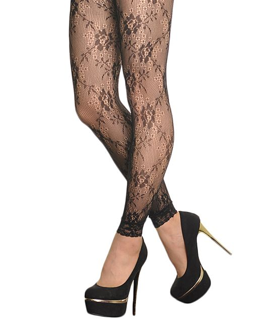 0b76a5d08bb Black Floral Lace-Trim Footless Tights | Products | Footless tights ...