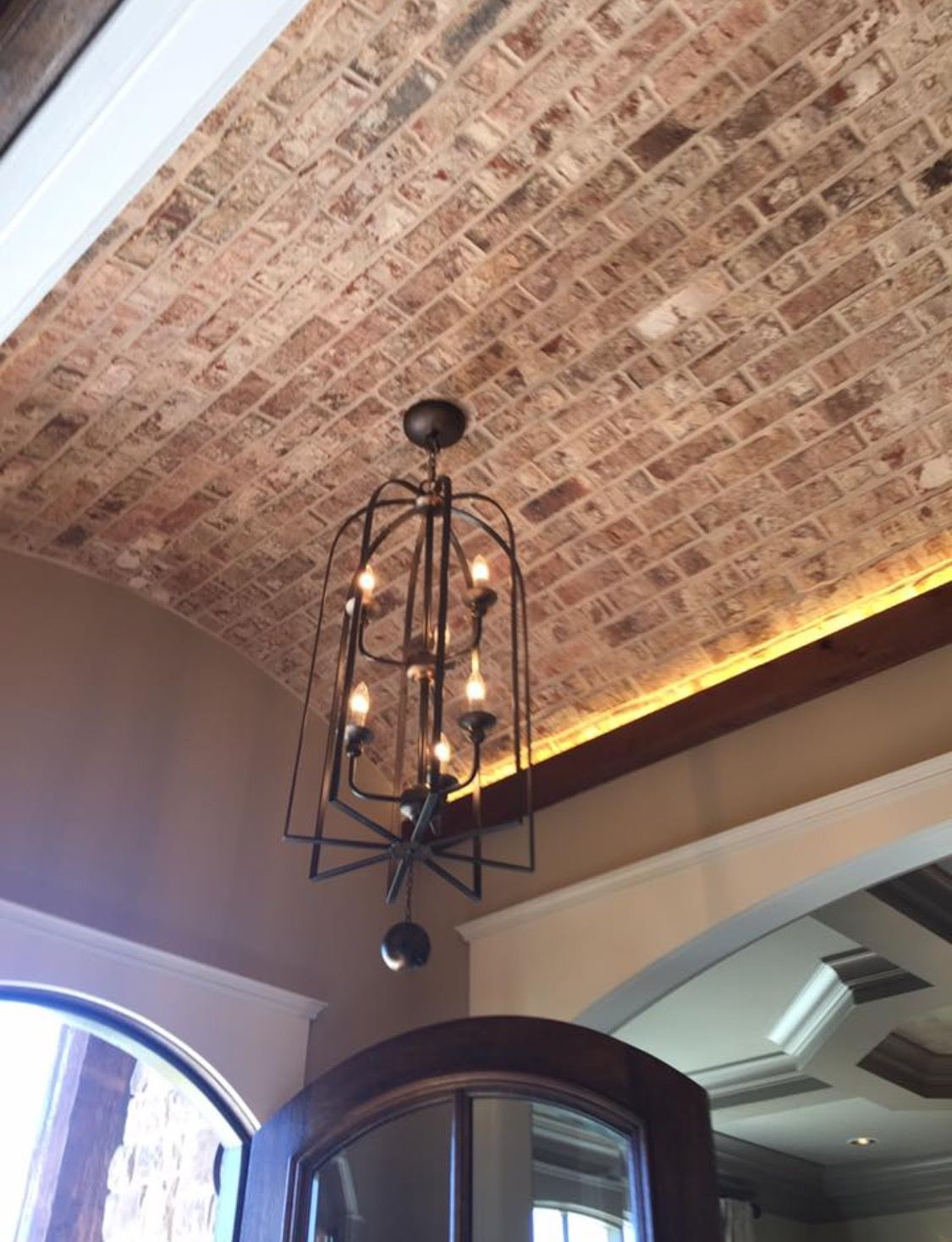 Brick Barrel Ceiling In Foyer With