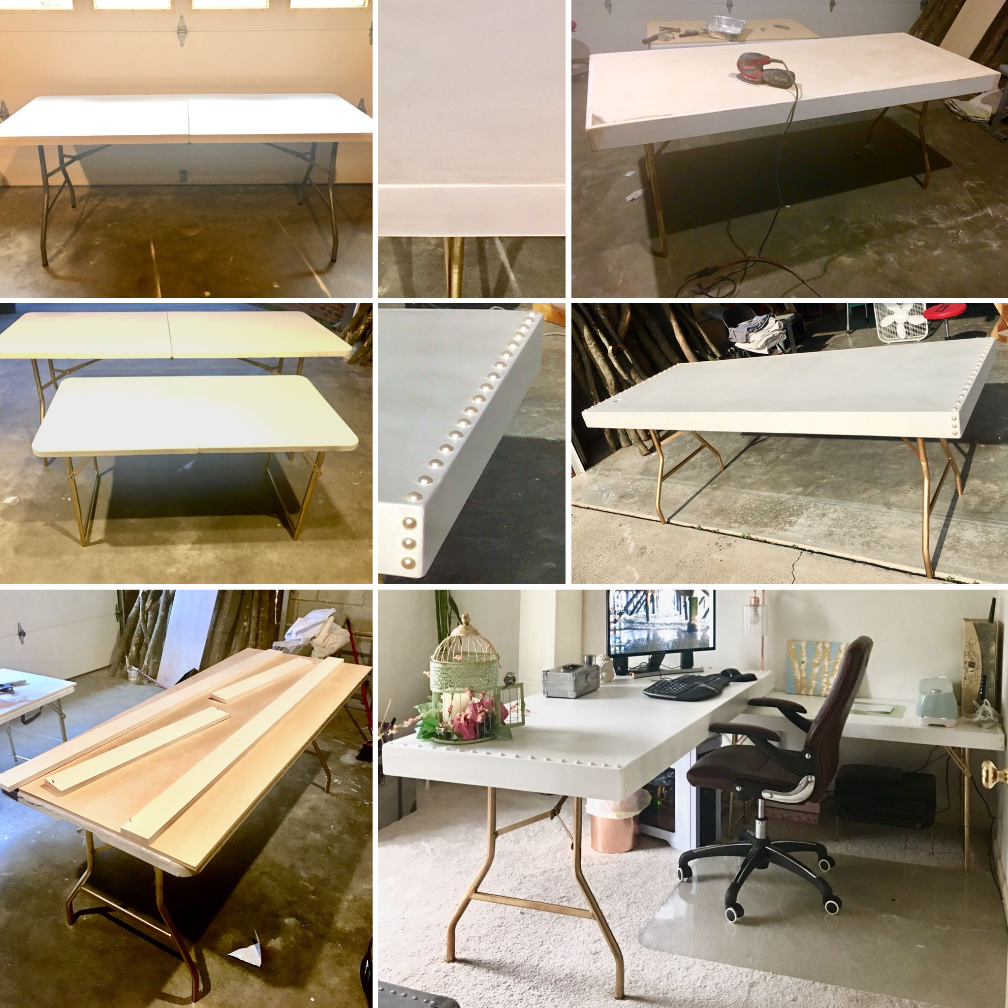 Diy L Shaped Desk Two Folding Tables 1 6ft 1 4ft Legs Spray Painted Gold Wood Box Top Painted With White Chalk Paint Then Tent Living Home Decor Home Diy