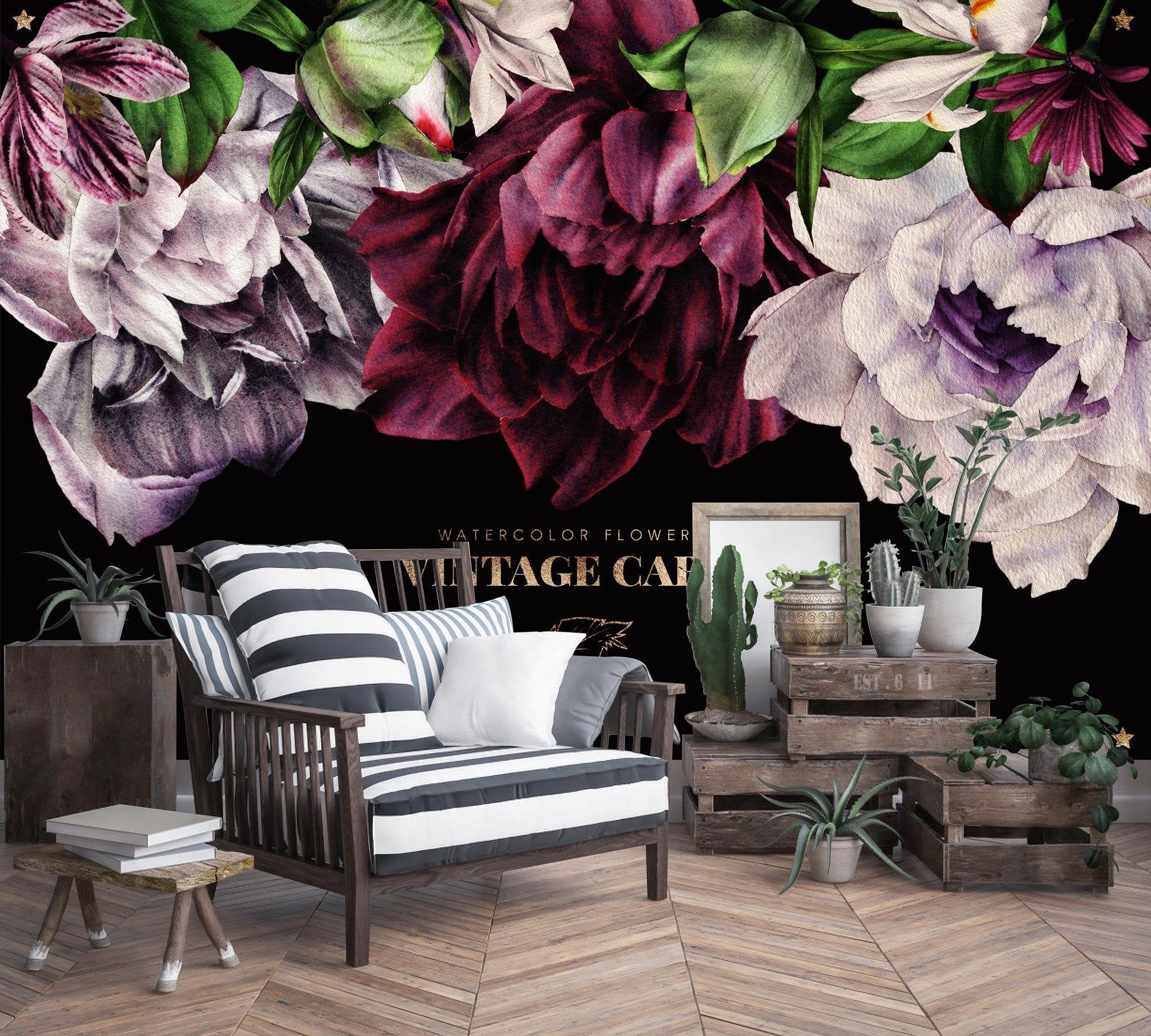 Greeting Vintage Colorful Flowers Floral Wallpaper Self Ets