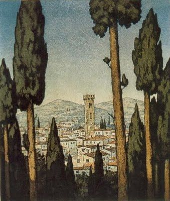 Beautiful Graphics by T.F.Simon, Czech Artist Fiesole near Florence in the Evening 1929