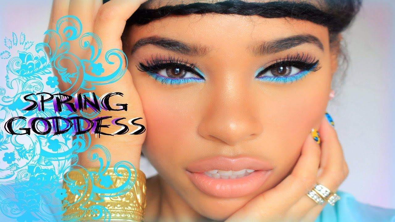Spring Goddess Makeup Look Easy Affordable Youtube Blue