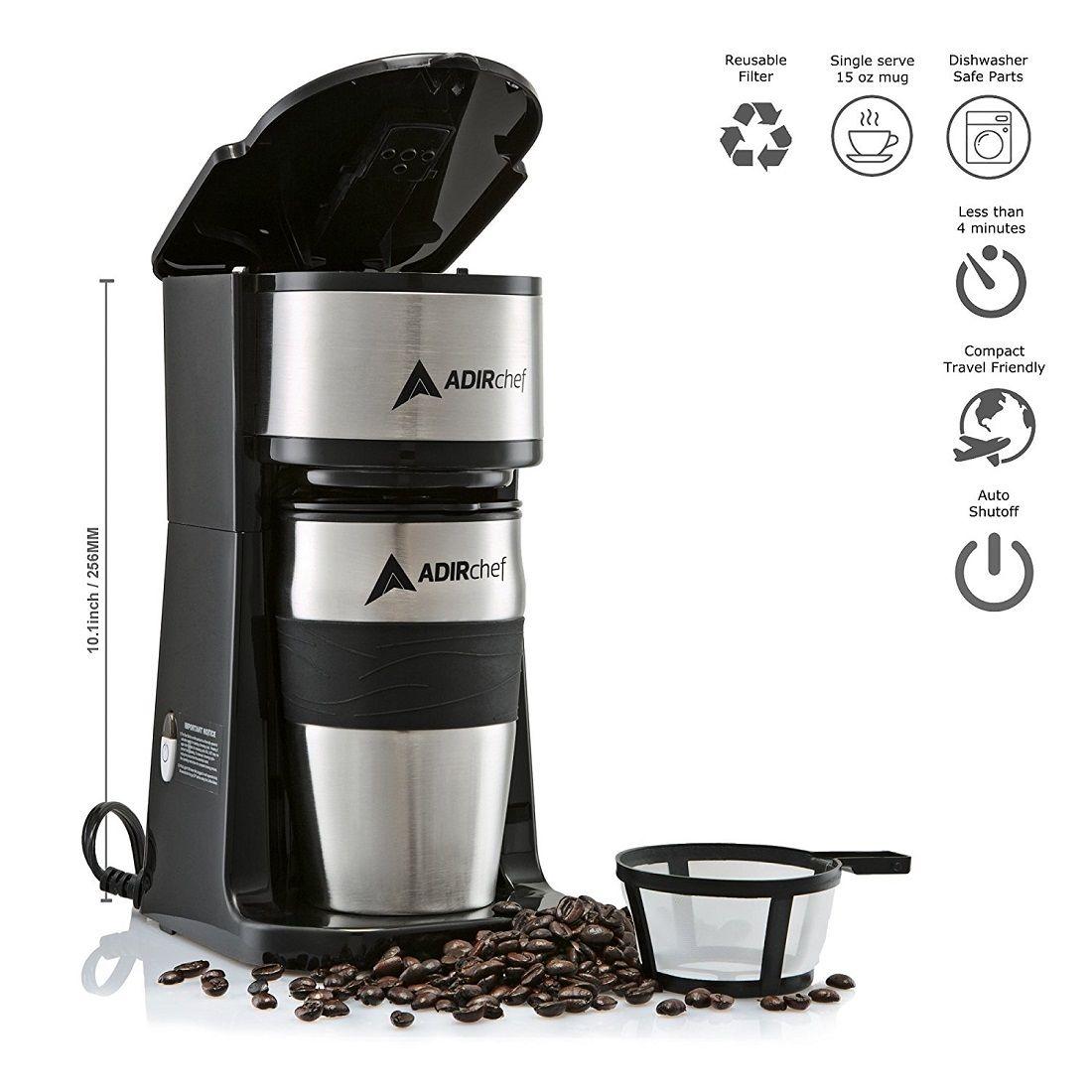 Adirchef grabn go black single serve coffee maker with
