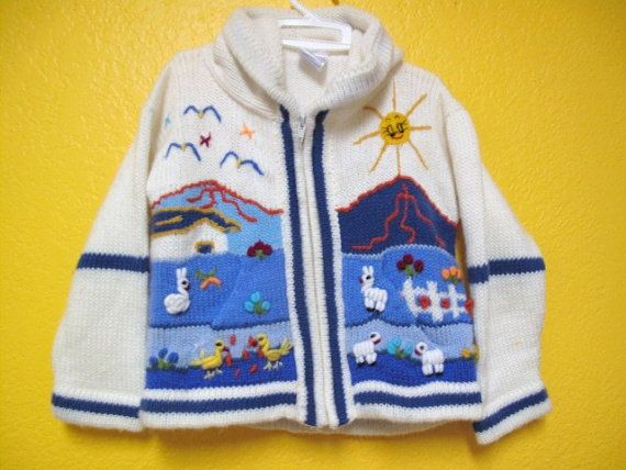 Vintage Child S Peruvian Sweater Jacket With Embroidered