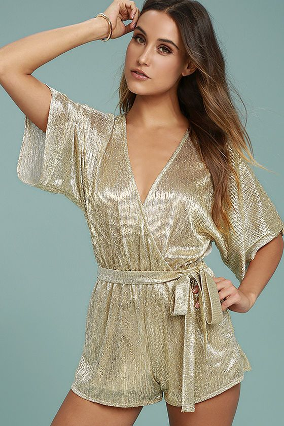 6badf3a3830 Shine inside and out in the Dazzling Diva Gold Romper! Glimmering  semi-sheer