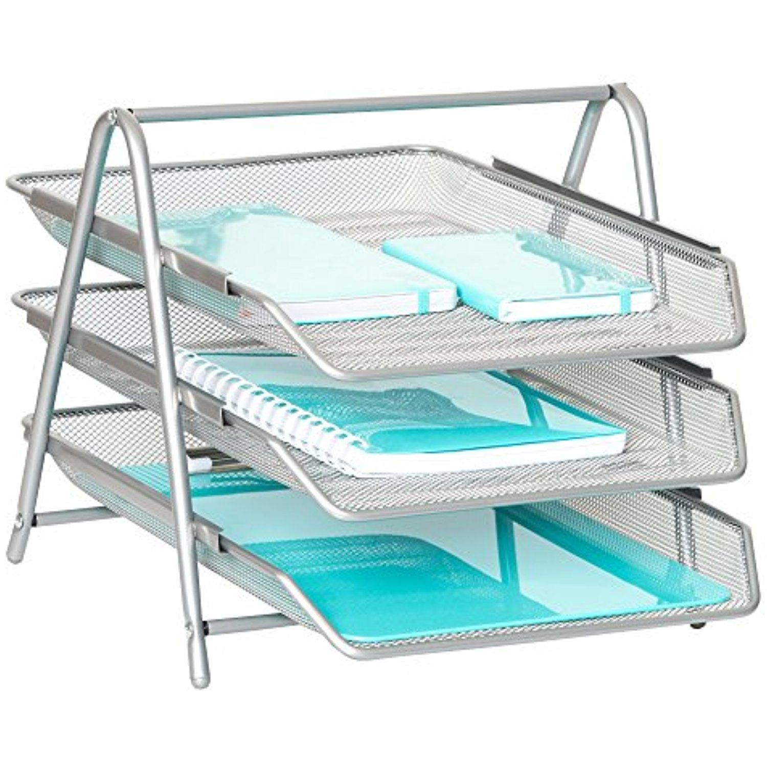 3-Tier Letter Tray Organizer – Wire Mesh Paper Tray for Home or ...