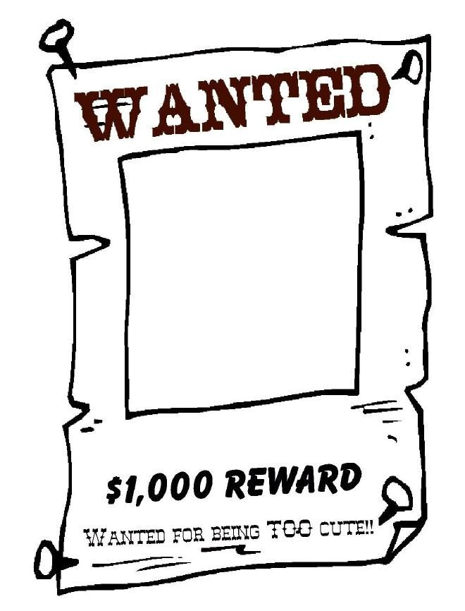 WANTED Poster TEMPLATE Blackline Masters ~ Templates ~ Patterns - wanted poster template