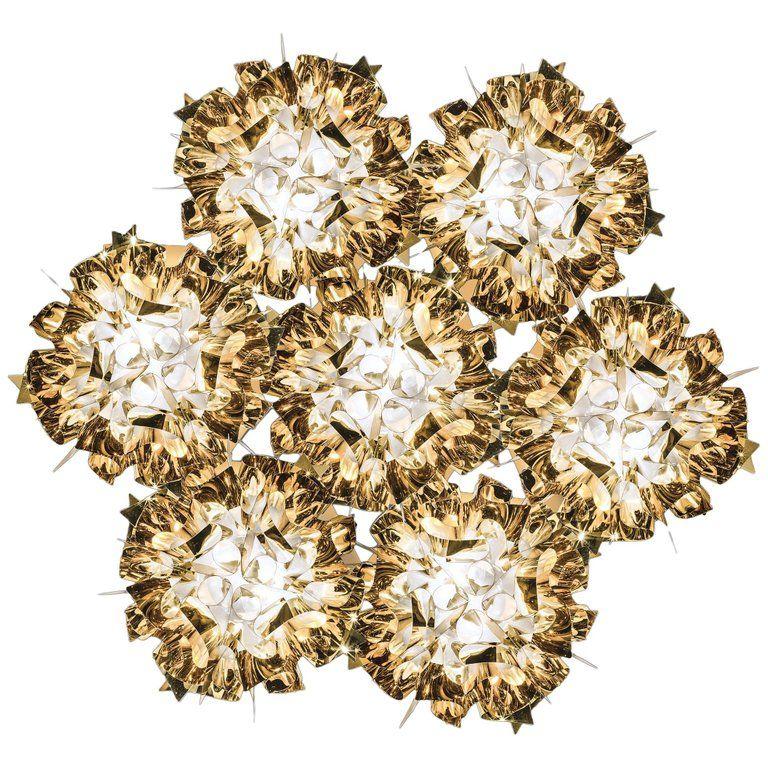 Slamp Veli 7 Pendant Light in Gold by Adriano Rachele #pendantlighting