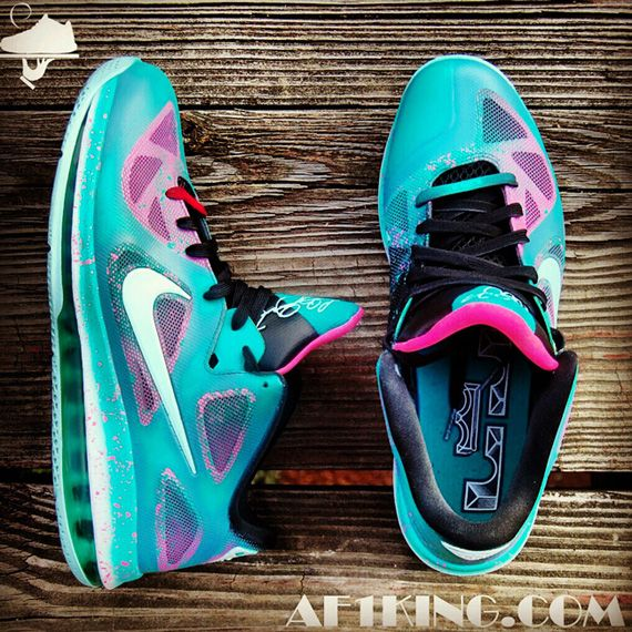 brand new bbaec 30b11 Nike LeBron 9 Low Easter in South Beach Customs by AF1King