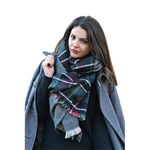 afa508a689488 Moxeay® Lady Women Blanket Oversized Tartan Scarf Wrap Shawl Plaid Cozy  Checked Pashmina (Houndstooth) at Amazon Women s Clothing store