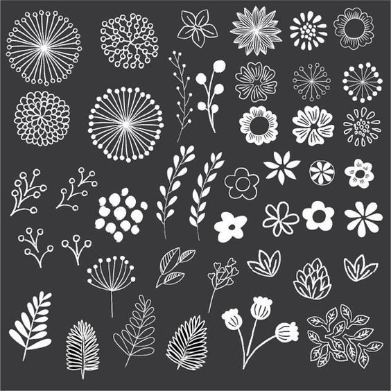 Chalkboard Floral Clipart - Clip Art - Floral Clipart - Chalk Clipart - Rustic Clipart - Boho Clipart - Vector AI and PNG - Instant Download
