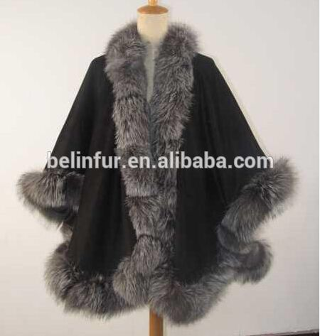 Check out this product on Alibaba.com APP ladies cashmere cape with real fox fur trim hooded cape