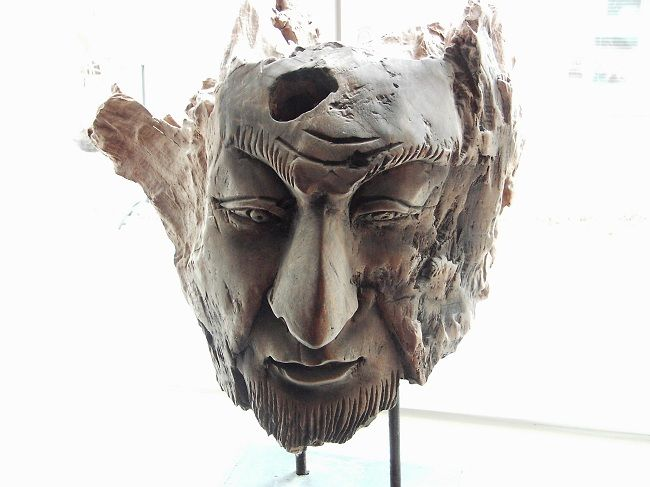 Head made from #driftwood - lovely piece of #art - and I couldn't resist it! http://www.thegoodlifefrance.com/nord-pas-de-calais-a-wealth-of-art-and-culture/