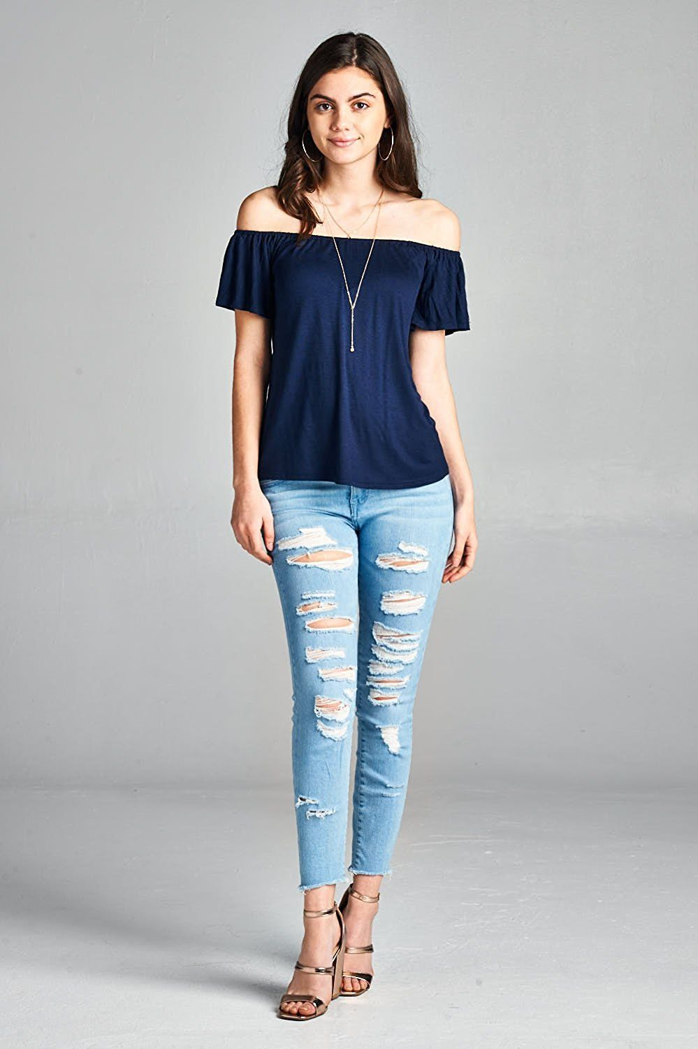 af873d66bb3386 Emmalise Short Sleeve Off Shoulder Tops for Women at Amazon Women's  Clothing store: