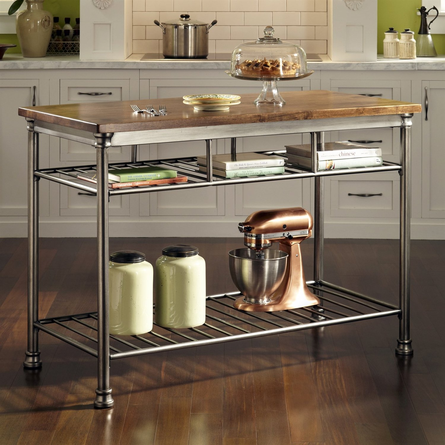 Classic French Style Hardwood Butcher Block Top Metal Kitchen Utility Table Kitchen Island With Butcher Block Top Kitchen Island Cart Kitchen Furniture