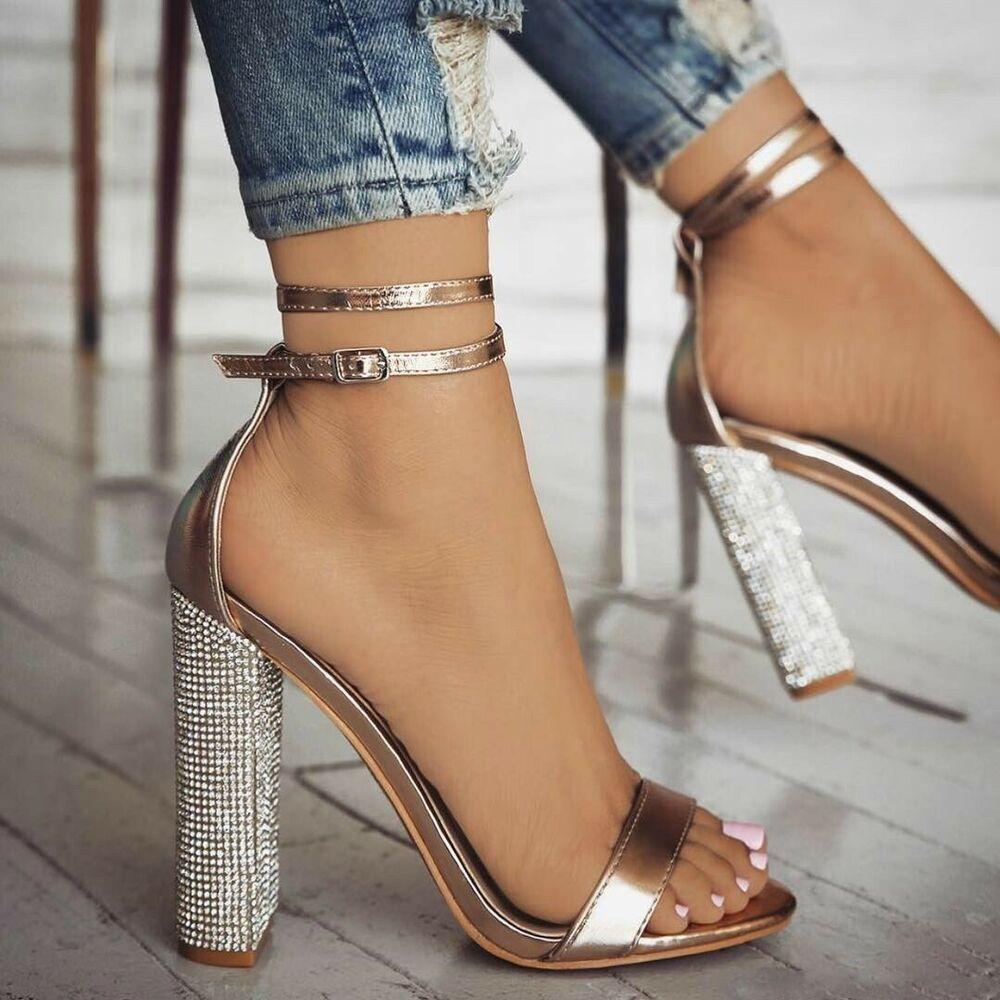 Women Heels Strappy Diamond Glitter