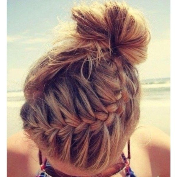 French braid into hair bun Hair ❤ liked on Polyvore featuring beauty products, haircare, hair styling tools, hair, hairstyles, hair styles, cheveux and makeup