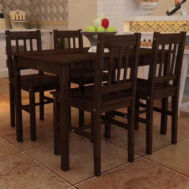 Dining Table Chairs Set Of 5 Brown Wooden Stand Kitchen Recliner