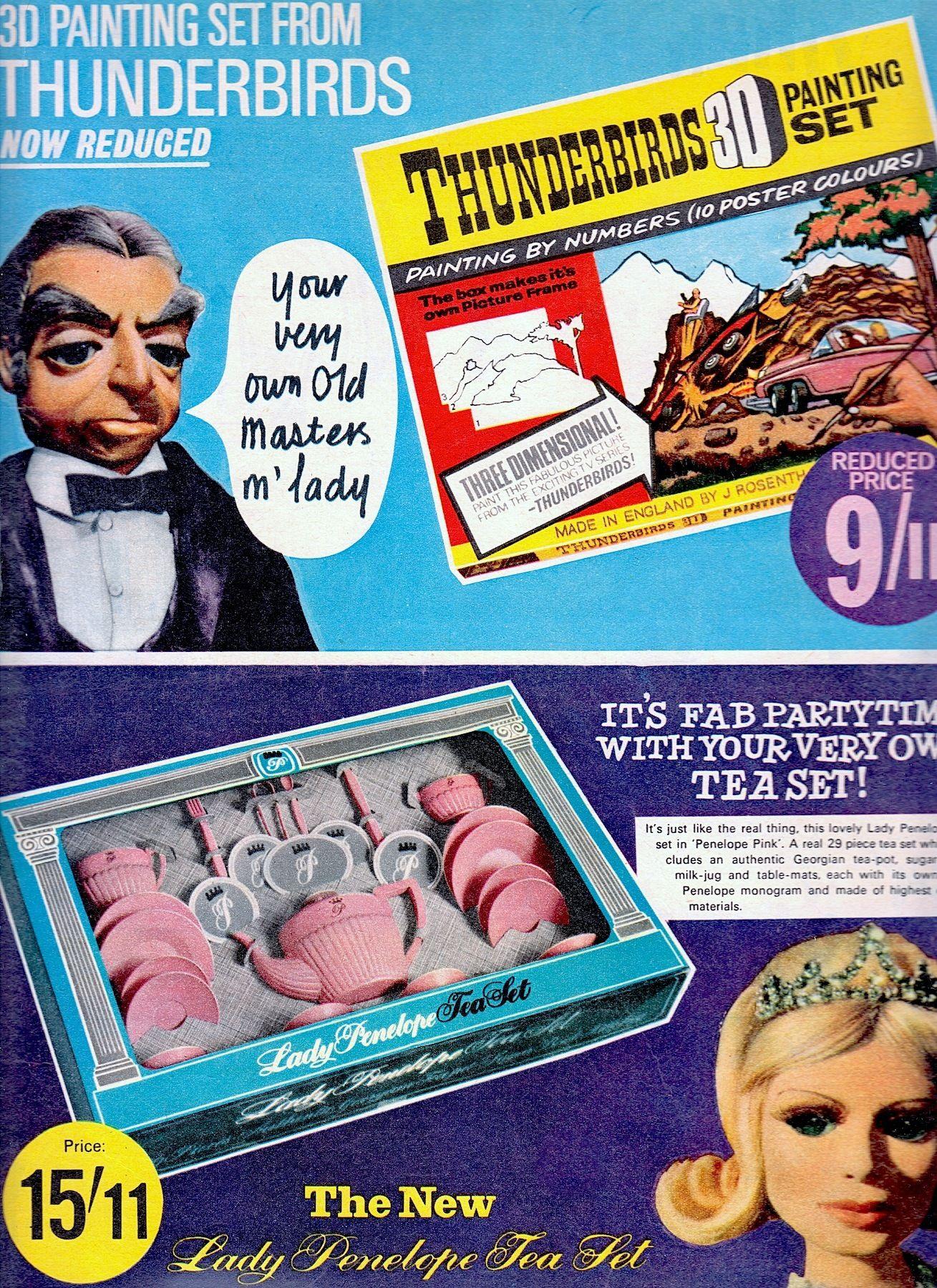 LADY PENELOPE TEA SET ad THUNDERBIRD TOYS for girls & boys and