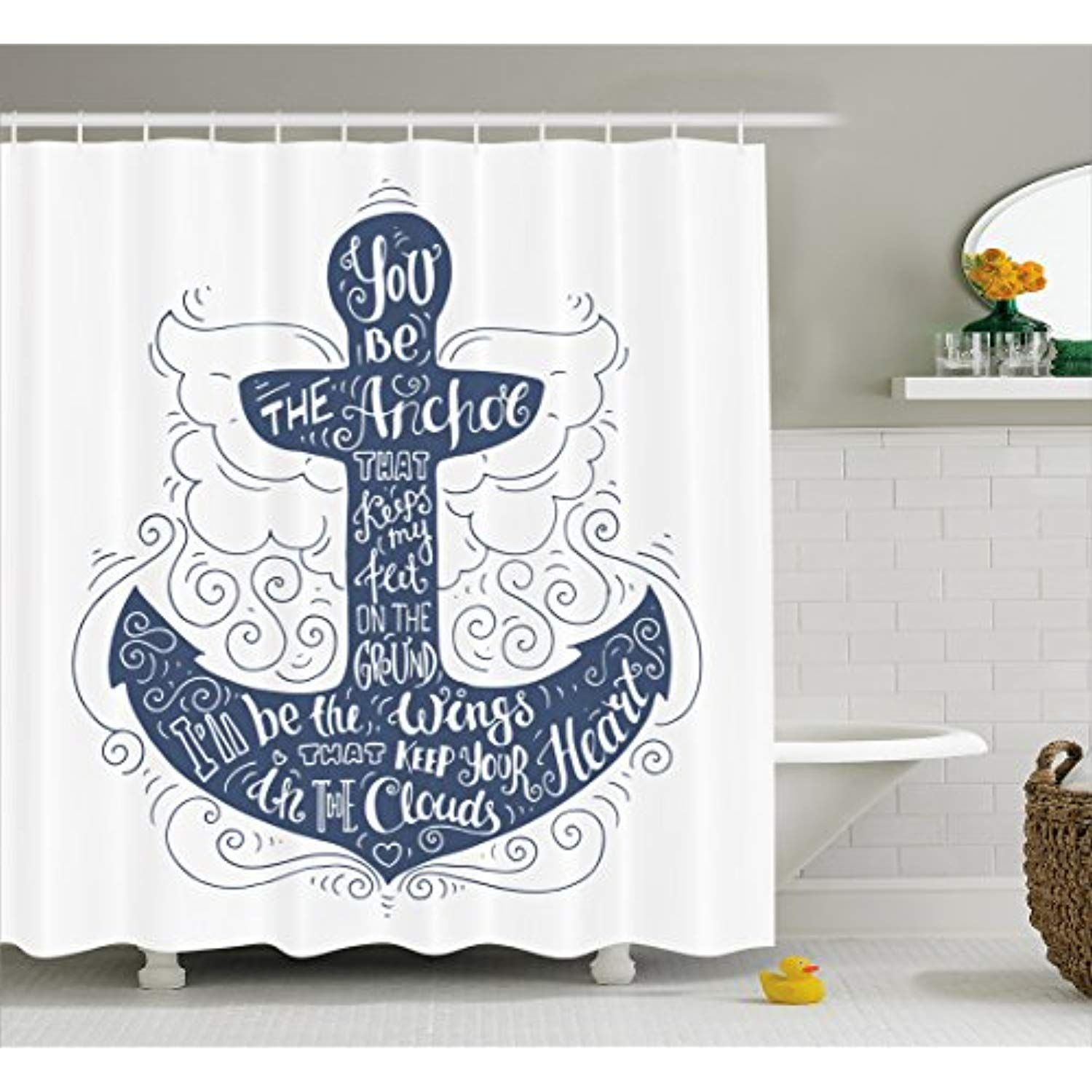 Ambesonne Anchor Shower Curtain Doodle Style Maritime Motif With