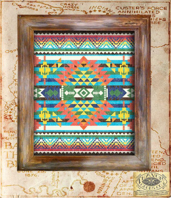 SouthWest Indian Blanket Native American Vintage Print