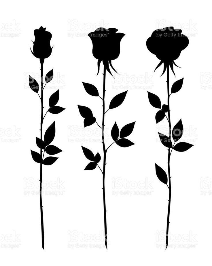 Vector Flower Set Of Decorative Rose With Long Stem Vector Flower Silhouette Royalty Free Set Tatuajes Tatuaje Rosa Negra Tatuajes De Rosas Y Tatuajes