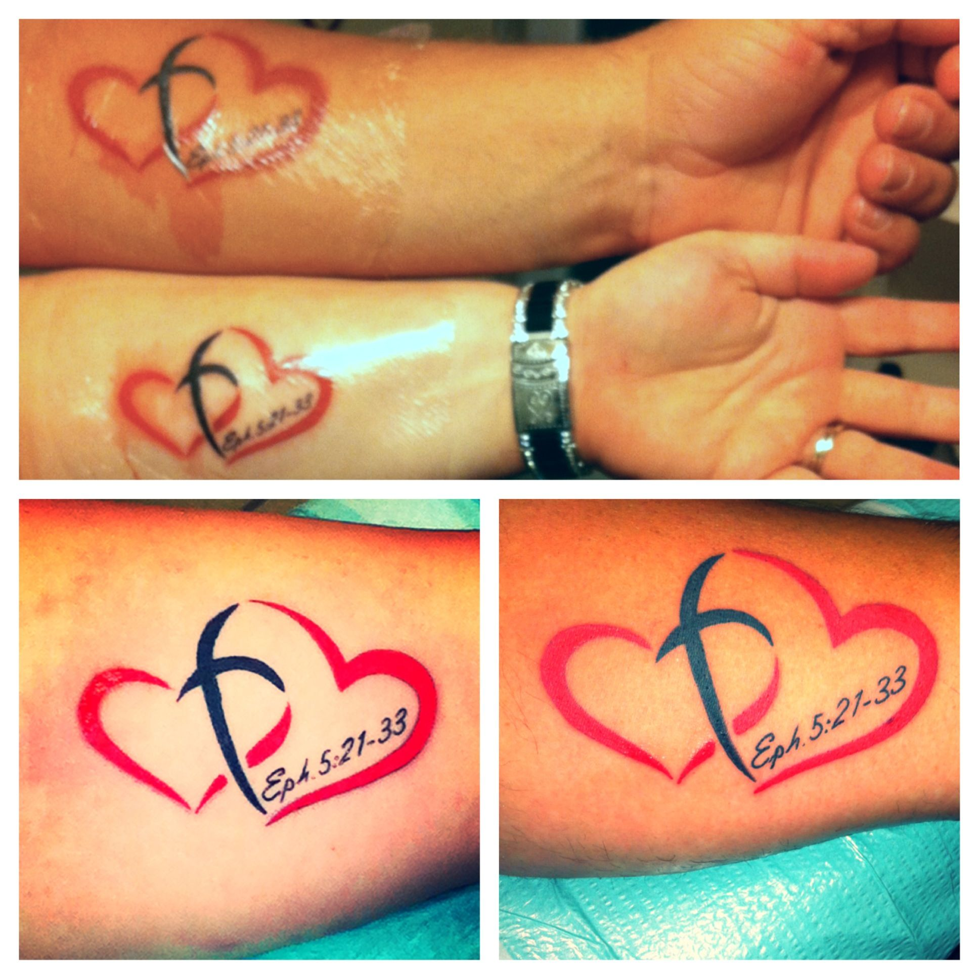 31 best matching tattoos for couples cool love design - Christ Centered Marriage Matching Tattoos Ephesians 5 21 33