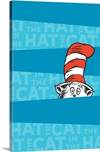 The Cat in the Hat Peeking, blue stripes - Dr. Seuss Art Collection I