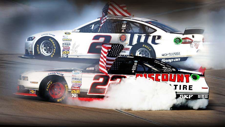 LUCKY   Brad Keselowski sweeps Vegas congras from A1 Flags & Poles #rvflags #rvflagpoles #NASCAR